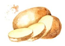 Cut Raw Potato Vegetables. Wat...
