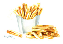 French Fry Stick Potato. Watercolor Hand Drawn Illustration Isolated On White Background