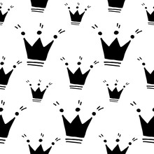 Cute Cartoon Crown Pattern With Hand Drawn Crowns. Sweet Vector Black And White Crown Pattern. Seamless Monochrome Doodle Crown Pattern For Textile, Wallpapers, Wrapping Paper, Cards And Web.