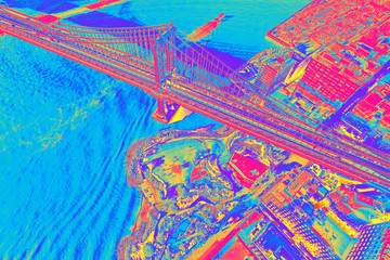 FototapetaAerial view of the Manhattan Bridge over the East River in New York City at sunset funky gradient