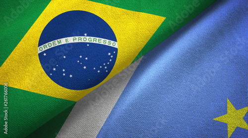 Fotografija  Mato Grosso do Sul state and Brazil flags textile cloth, fabric texture
