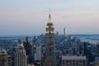 New York City. Manhattan downtown skyline at dusk