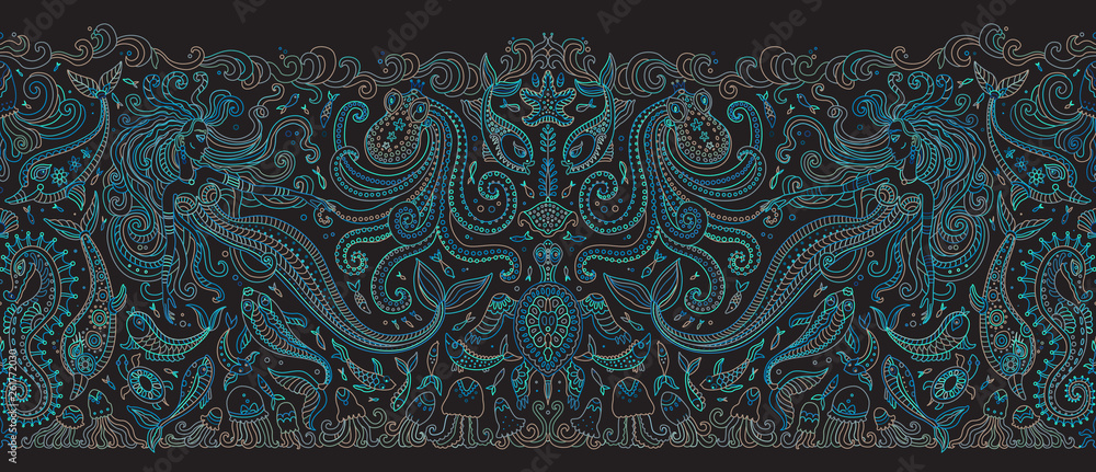 Fototapeta Vector seamless pattern. Fantasy mermaid, octopus, fish, sea animals green blue contour thin line drawing on a black background. Embroidery border, wallpaper, textile print, wrapping paper
