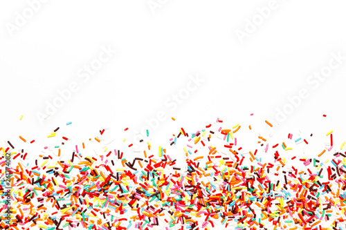 Multicolored Sugar sprinkle dots, decoration for cake. copy space