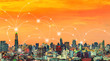 canvas print picture Wireless network connection technology icons over city at sunset.