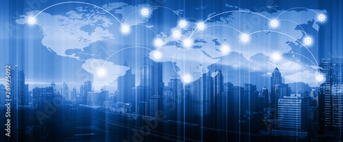 Double exposure of world map connection and blurred cityscape. Technology and network connection concept. World map element of this image furnished by NASA.