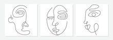 One Line Drawing Abstract Face...