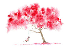 Blossom Cherry Tree And Girl On Swing . Spring Rural Landscape. Watercolor Hand Drawn Illustration.White Background.