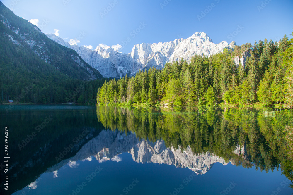 Fototapety, obrazy: Beautiful morning scene with alpine peaks reflecting in tranquil mountain lake