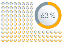 Percentage Diagram Set. Circle Pie Chart From 1 To 100 Percent. Design Element For Infographic, UI, Web Design, Business Presentation. Progress Bar Template. Vector Illustration.