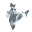 India vector map for infographic , . Editable template with regions, Vector illustration isolated on white background
