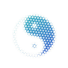 Halftone Triangles Yin Yang Icon In Blue Gradient. Vector Illustration Isolated On White Background