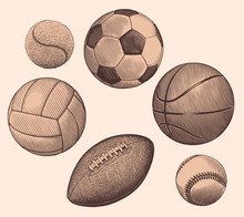 Sports Balls. Design Set. Hand Drawn Engraving. Editable Vector Vintage Illustration. Isolated On Light Background. 8 EPS