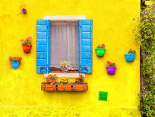Opened Window With Blue Shutters On A Yellow Wall. With Red, Green, Orange,  Blue, And Purple Flower Pots. Colourful Image