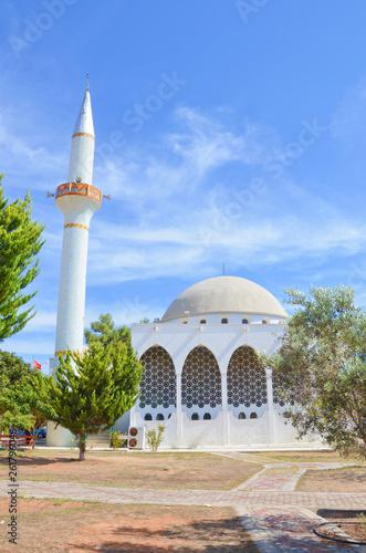 Fotografia, Obraz  Beautiful Muslim mosque in Rizokarpaso, in Turkish Dipkarpaz, Northern Cyprus taken on a sunny day with blue sky