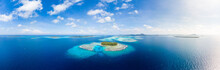 Aerial View Banyak Islands Sumatra Tropical Archipelago Indonesia, Aceh, Coral Reef White Sand Beach. Top Travel Tourist Destination, Best Diving Snorkeling.