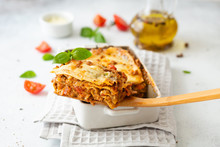 Tasty Lasagne With Meat, Cheese On White Plate