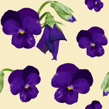 Seamless Pattern With Purple Pansies And Buds On Pastel Yellow Background