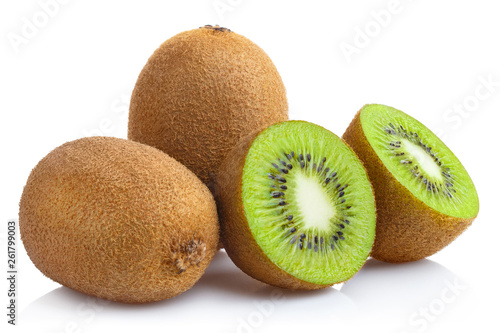Delicious ripe kiwi fruits, isolated on white background