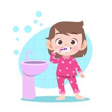 Kid Girl Brushing Teeth Vector Illustration