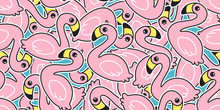 Flamingo Seamless Pattern Vector Pink Flamingos Exotic Bird Summer Tropical Cartoon Tile Background Repeat Wallpaper Scarf Isolated Illustration