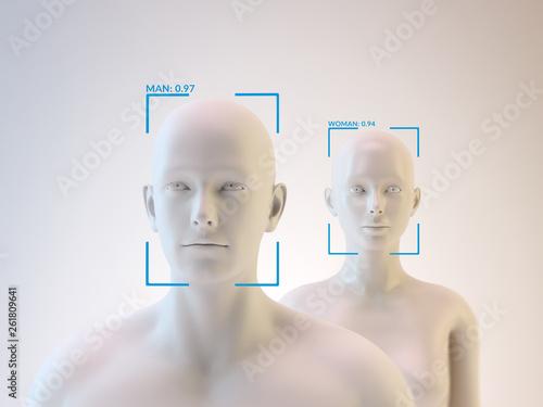 Facial recognition - 3D illustration Wallpaper Mural