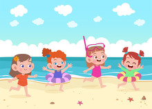 Kids Play At The Beach Vector ...