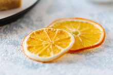 Dried Orange Slices Lie On The Table. Soft Focus