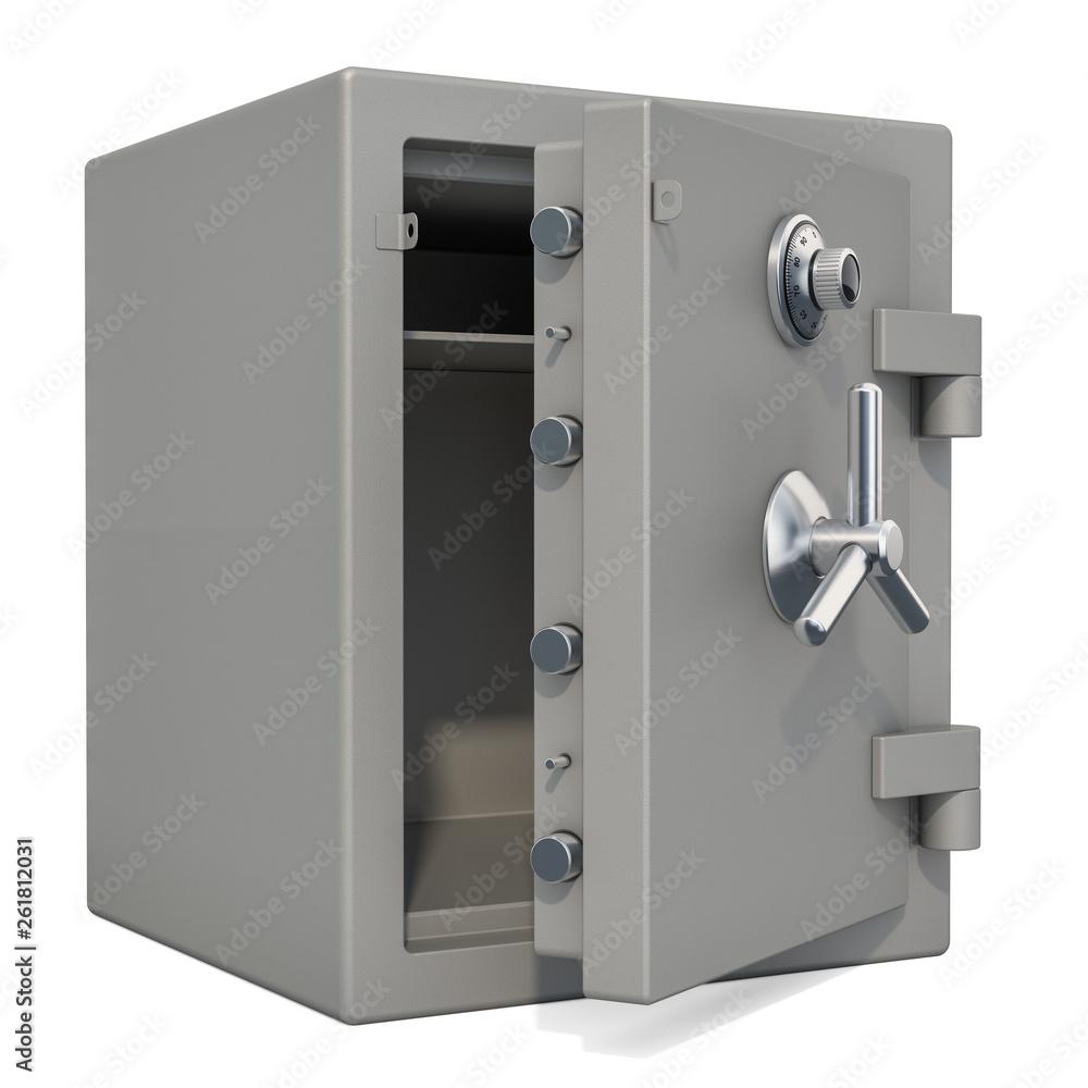 Fototapeta Opened safe box with combination lock closeup, 3D rendering