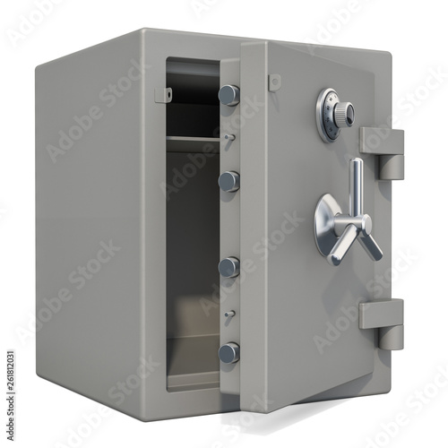 Fototapeta Opened safe box with combination lock closeup, 3D rendering obraz