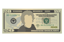 Twenty Dollars Bill. 20 US Dollars Banknote, Front View. Vector Illustration Isolated On White Background