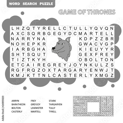 Fotografie, Obraz  Crossword - search words game, education game for children - Game of Thrones, Gr