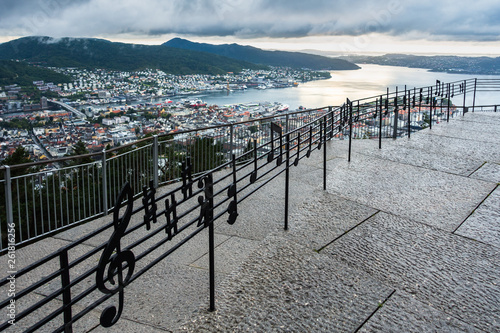 Musical Notes Fence at Mount Floyen with a spectacular panoramic view of Bergen, Norway - 261816256
