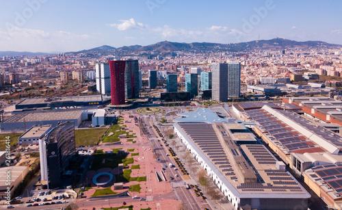 Foto auf Leinwand Barcelona Aerial view of Gran Via, Fira de Barcelona, Placa d Europa