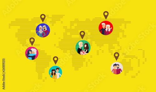 Photo  Cartoon pictures of lines and stripes world map infographic template and navigaton icon on blue background