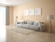 Mock up modern living room with a large stylish sofa and beige decorative plaster.