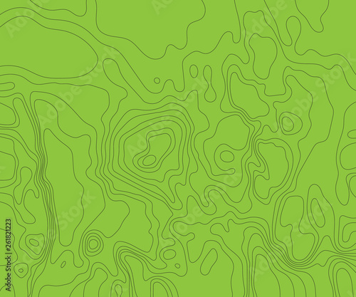 Fotografia  Topographic map on a green background. Vector illustration .