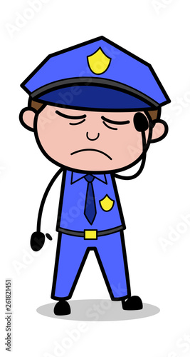 Headache - Retro Cop Policeman Vector Illustration Poster Mural XXL
