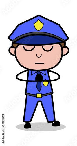 Prayer - Retro Cop Policeman Vector Illustration Canvas Print