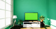 Leinwanddruck Bild - Smart Tv Mockup with blank black screen hanging on the cabinet decor, modern living room zen style. 3d rendering
