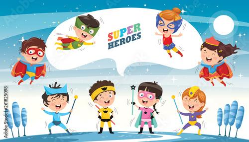 Fotografía  Vector Illustration Of Superheroes