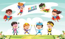 Vector Illustration Of Superheroes