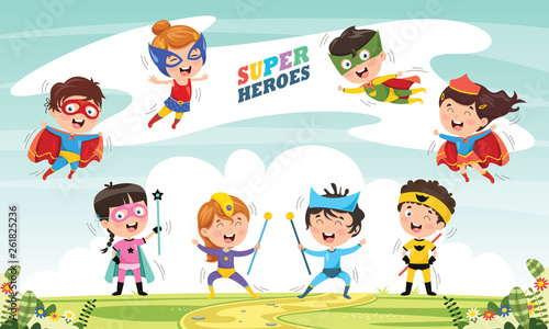 Cuadros en Lienzo Vector Illustration Of Superheroes