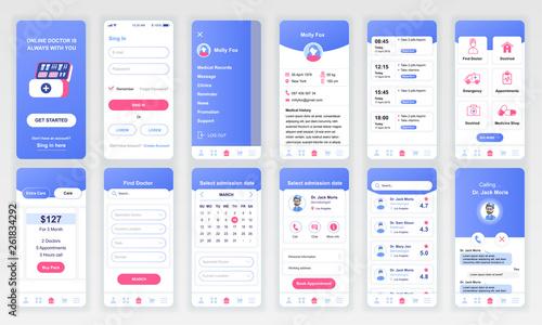Obraz Set of UI, UX, GUI screens Medicine app flat design template for mobile apps, responsive website wireframes. Web design UI kit. Medicine Dashboard. - fototapety do salonu