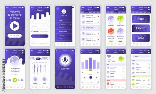 Fotografía  Set of UI, UX, GUI screens Music app flat design template for mobile apps, responsive website wireframes