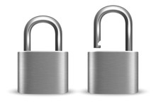 Vector 3d Realistic Closed And Opened Metal Silver Chrome Padlock Icon Set Closeup Isolated On White Background. Design Template Of Gold Lock For Protection Privacy, Web And Mobile Apps, Logo