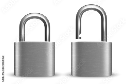 Vector 3d Realistic Closed and Opened Metal Silver Chrome Padlock Icon Set Closeup Isolated on White Background Tableau sur Toile