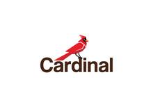 Creative Red Cardinal Text Logo