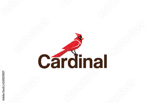 Photo  Creative Red Cardinal Text Logo
