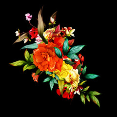 Fototapeta Róże Flowers. Bouquet of roses, pomegranate buds with leaves on black. Abstract, Vintage style. Hand drawn. Vector - stock.